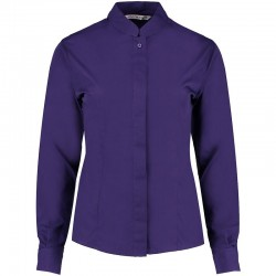 Plain Women's mandarin collar fitted shirt long sleeve Kustom Kit 115 GSM