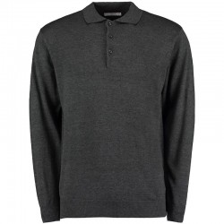 Plain Polo Shirt Long Sleeve Arundel Knitted Kustom Kit