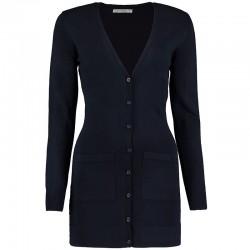 Plain Women's longline v-neck cardigan long sleeve Kustom Kit 12 Gauge