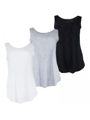 Ladies Soft Style Plain Tank Jersey  Top 100/% Cotton Vest  Broad Strap Vest