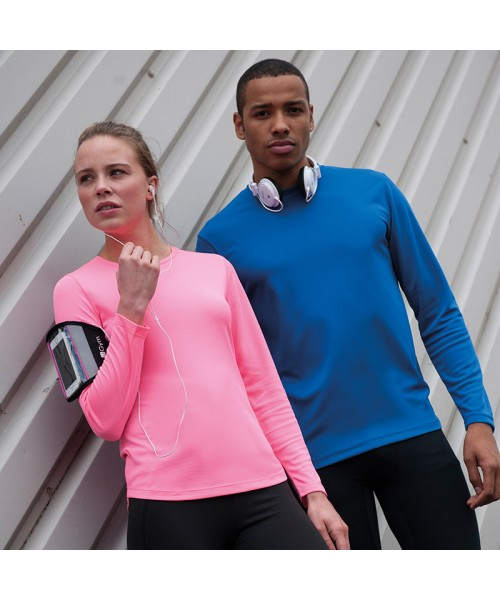 Plain T Long sleeve polyester performance Just Cool 140gsm