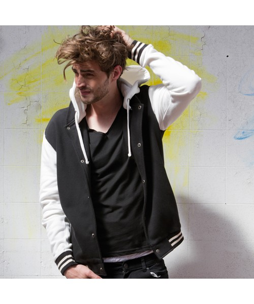 Plain Unisex baseball jacket with detachable hood Skinnifit 330 GSM