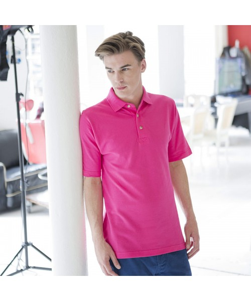 Plain Classic polo with stand up collar Henbury 225 GSM