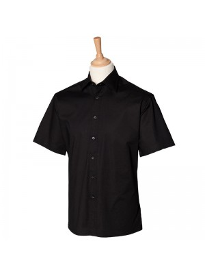 Plain Short sleeve fitted shirt Henbury 135 GSM