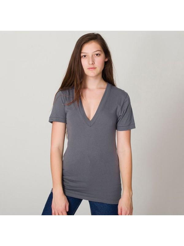 Plain V Neck Sheer Jersey Short Sleeve Deep American
