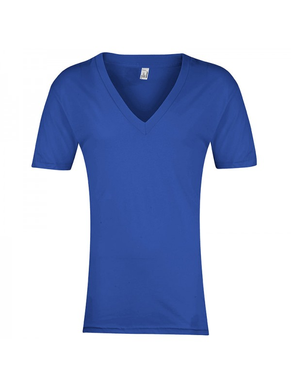 Plain v neck sheer jersey short sleeve deep american for American apparel plain t shirts bulk