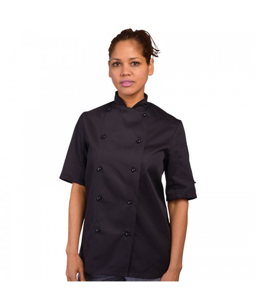Plain Chef's jacket short sleeve with stud Dennys Lodon  200 GSM