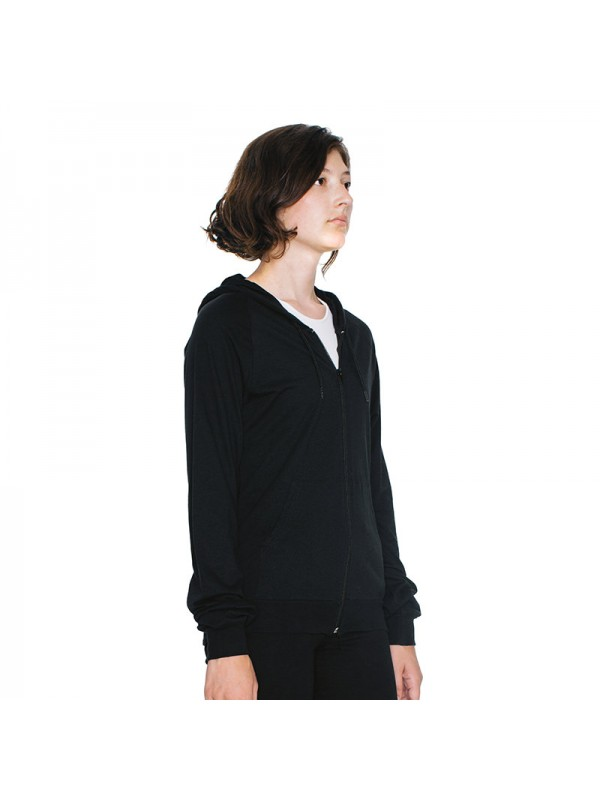 Plain fine jersey zip hoodie american apparel 146 gsm for American apparel plain t shirts bulk