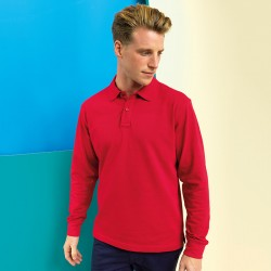 Plain Men's classic fit long sleeved polo Asquith & Fox 200 GSM