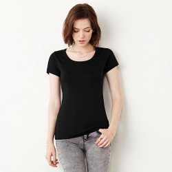 Plain Baby rib short sleev scoop neck t-shirt Bella +Canvas 195 GSM