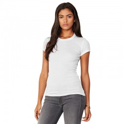 Plain crew neck t-shirt Sheer mini rib Bella 135 GSM