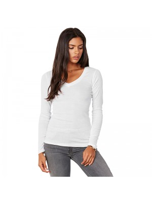 Plain Sheer mini rib long sleeve t-shirt Bella+Canvas 135 GSM