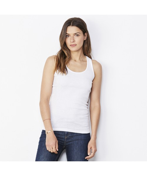 Plain 2x1 Rib racerback longer length tank top Bella +Canvas 195 GSM