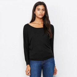 Plain Flowy off-the-shoulder long sleeve t-shirt Bella +Canvas 125 GSM