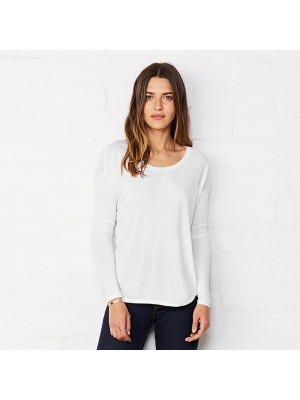 Plain Flowy long sleeve t-shirt with 2x1 Bella +Canvas 125 GSM