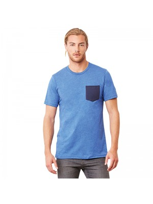 Plain Unisex Jersey short sleeve pocket t-shirt Bella+Canvas 145 GSM
