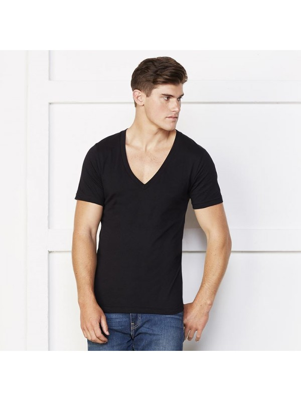 Plain deep v neck t shirt unisex jersey bella canvas 145 gsm for American apparel plain t shirts bulk