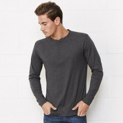 Plain Unisex Jersey long sleeve Henley Bella+Canvas 145 GSM