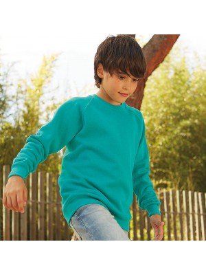 Plain Classic 80/20 kids raglan sweatshirt Fruit Of The Loom 280 GSM