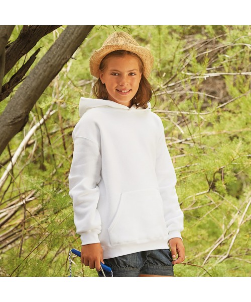 Plain Premium 70/30 kids hooded sweatshirt Fruit Of The Loom 280 GSM