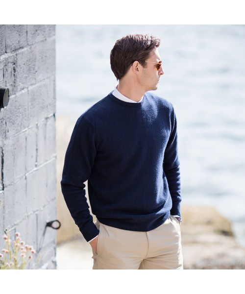 Plain Crew neck lambswool jumper Henbury 9 Gauge GSM