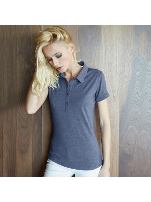 Plain Women's melange short sleeve polo Kariban 160 GSM