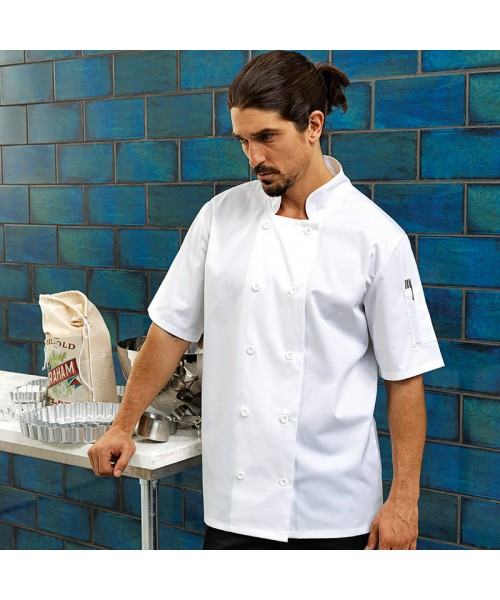 Plain Jacket Short Sleeve Chef's Premier 195 GSM