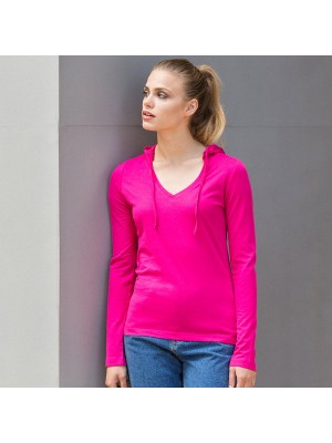 Plain Women's long sleeve hooded T  Skinnifit 140 GSM