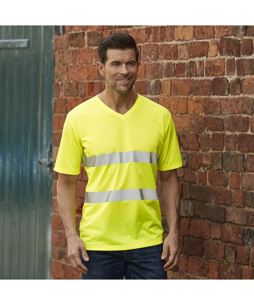 Plain Hi-vis top cool super light v-neck t-shirt Yoko 130 GSM