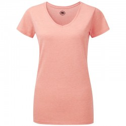 Plain T-shirt Women's v-neck HD russell White 155, Colours 160 GSM