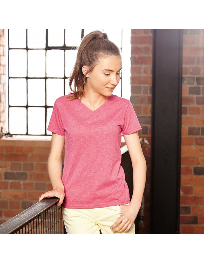 Plain Girls v-neck HD T Russell White 155gsm, Colours 160 GSM