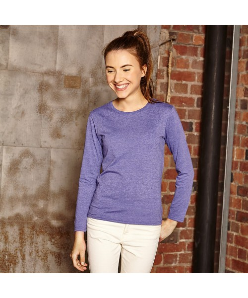 Plain Women's Long sleeve HD T Russell White 155 Colours 160 GSM