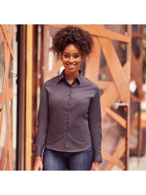 Plain Women's long sleeve classic twill twill shirt Russell Collection 130 GSM