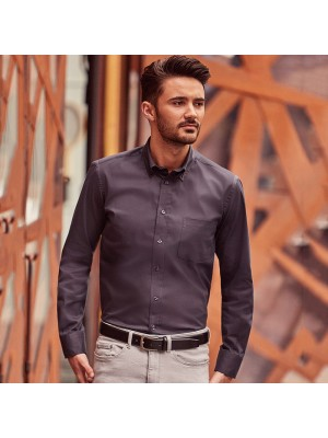 Plain Long sleeve classic twill shirt Russell Collection 130 GSM