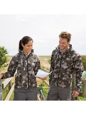 Plain Camo TX performance hooded softshell jacket Result 320 GSM