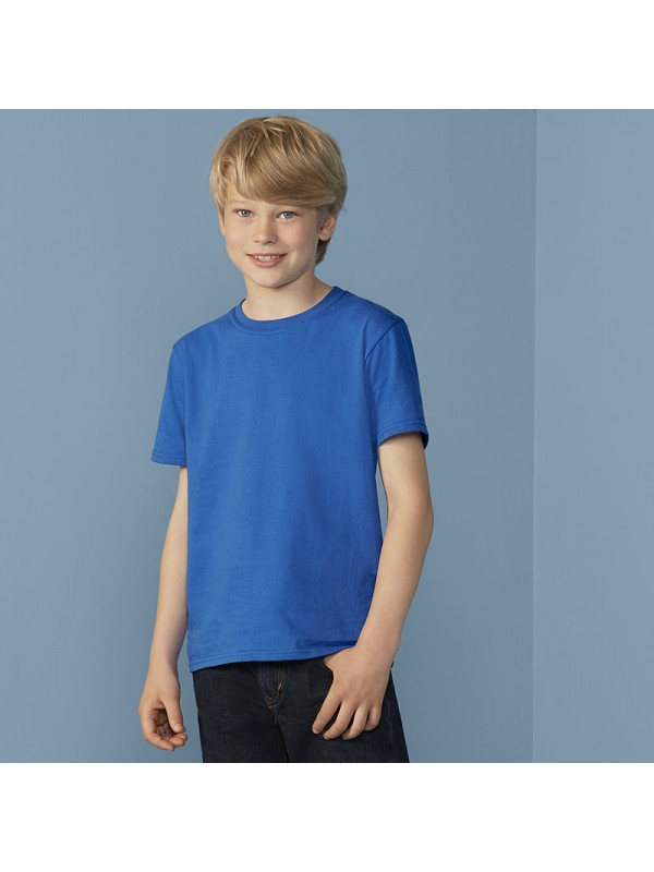 Ringspun T Shirt >> Plain Kids Softstyle Youth Ringspun T Shirt Gilden White 141gsm