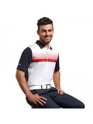 Plain g.Leo printed stripe polo shirt Glenmuir 190 GSM