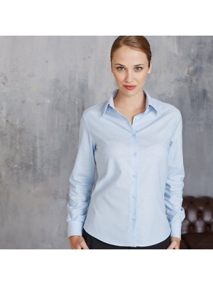 Plain Women's long sleeve easycare Oxford Kariban White 130gsm, Colours 135gsm