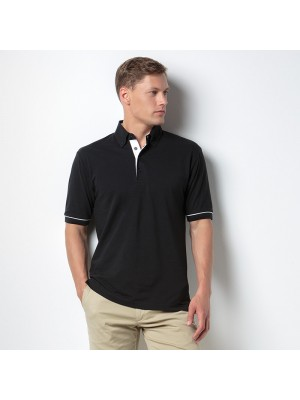 Plain Button-down collar contrast polo Kustom Kit 185 GSM