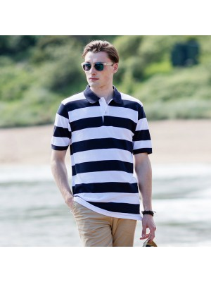 Plain Striped piqué polo shirt Front Row & Co 200 GSM