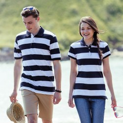 Front Row Unisex Striped Pique Polo