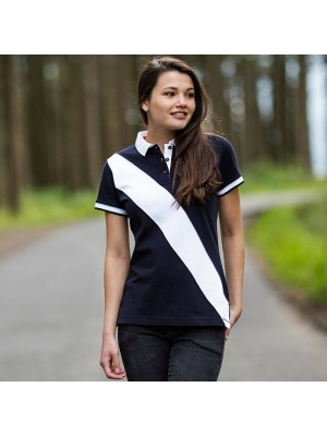 Plain Women's diagonal stripe piqué polo shirt - tag-free Front Row & Co 200 GSM