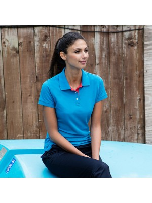 Plain Women's contrast 65/35 piqué polo shirt Henbury 200 GSM
