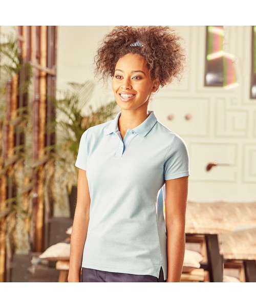 Plain Women's classic polycotton polo Russell White 210gsm, Colours 215gsm