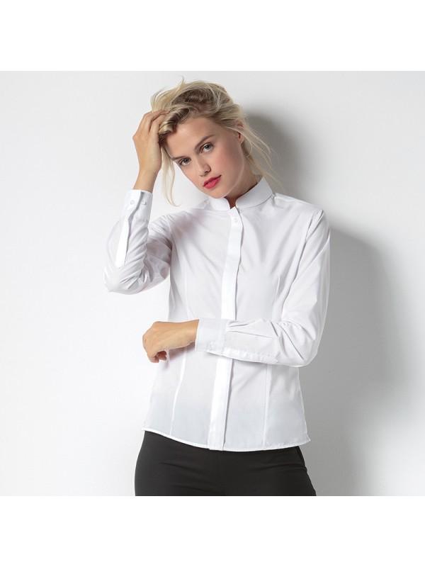 plain women 39 s mandarin collar fitted shirt long sleeve