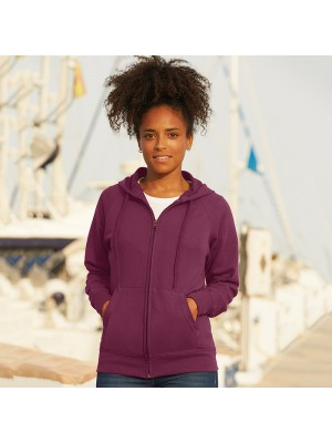 LADY FIT LIGHTWEIGHT ZIP HOODED SWEATSHIRT Fruit of the Loom 240 GSM
