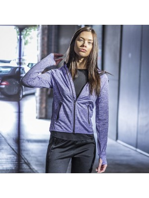 Plain Women's lightweight running hoodie with reflective tape Tombo 180 GSM