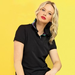 Plain Women's check trim polo Asquith & Fox 200 GSM