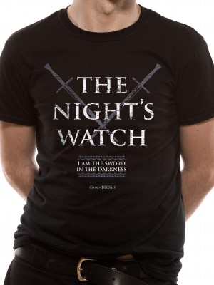 GAME OF THRONES T SHIRT Official Merchandise GAME OF THRONES - NIGHTS WATCH (UNISEX) Black t-shirt