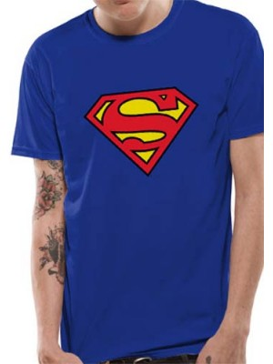 SUPERMAN T SHIRT Official Merchandise SUPERMAN - LOGO (UNISEX) Blue t-shirt